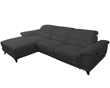 Lorenzo Modern Double recliner Sectional Grey Leather Left Facing