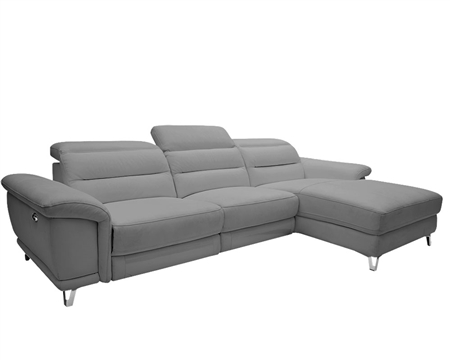 Lorenzo Modern Double recliner Sectional MID-GREY Leather Right Facing