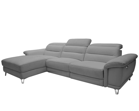 Lorenzo Modern Double recliner Sectional MID-GREY Leather Left Facing