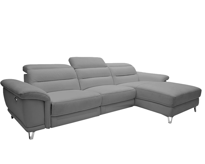 Lorenzo Modern Double recliner Sectional Grey Leather