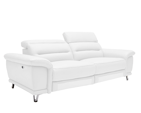 Lorenzo Modern Double recliner 3 Seater White Leather Sofa