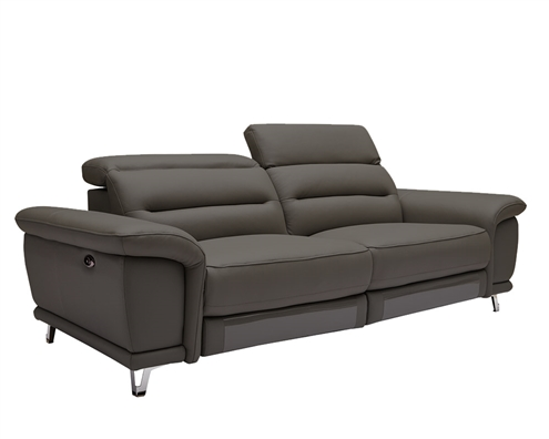 Lorenzo Modern Double recliner 3 Seater Grey Leather Sofa