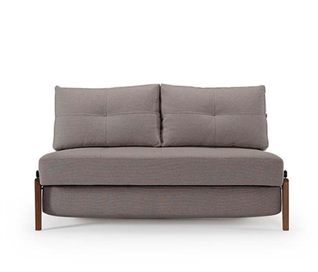 Cube 02 Deluxe Modern Sofa Bed Mixed Dance Grey Dark Wood Legs - QUEEN