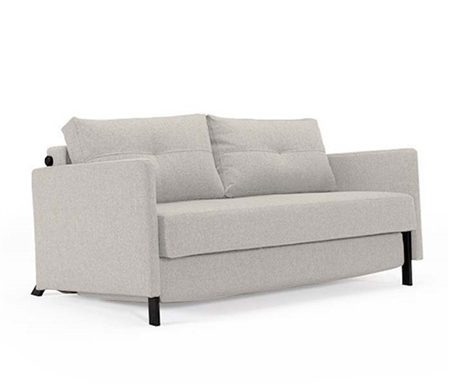 Cube Deluxe Modern Sofa Bed Mixed Dance Natural with Arms and Mat Black Steel Legs - QUEEN