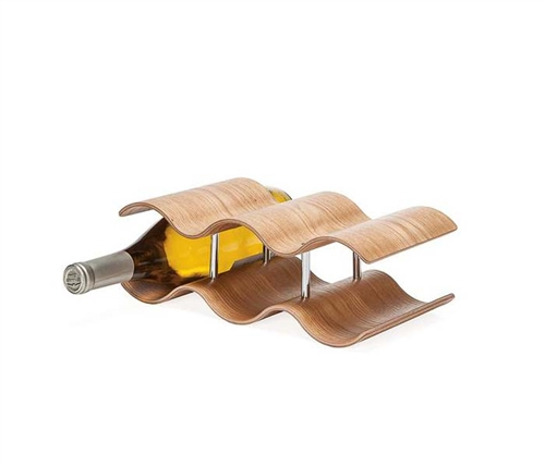Kento Curve Wooden 5 Bottle Modern Wine Rack