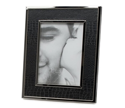 These safari-inspired black crocodile patterned picture frames make exotic décor accents. Nickel plated metal.