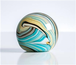 Swirl Teal/Gold Glass Ball Paperweight Decor 3""