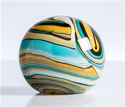 Swirl Teal/Gold Glass Ball Paperweight Decor 4""