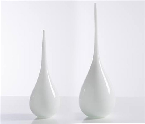 Tira Long Neck Glass Modern Vases - WHITE