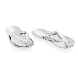 Aluminum Sandals Set. Use for coins, keys & décor on any table. Polished aluminum.