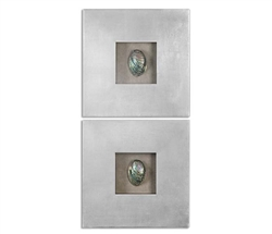 Abalone Shells Modern Wall Decor, Set of 2
