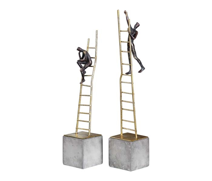 Ladder Climb Figurines Modern  Sculptures Set of 3