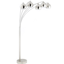 A stylish and attractive Arc floor lamp with 5 metal Shades and 3 way pole switch