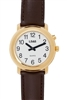 LS&S 101083 Gold One Button Watch - Brown Leather Band