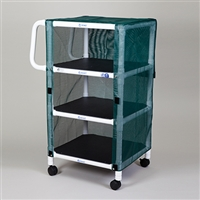 Multi-Purpose Cart, 3 Shelves with Forest Green Mesh Cover
