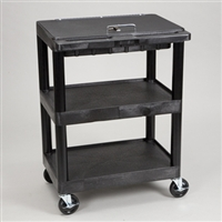 Supply Cart with Three Shelves and Locking Lid