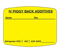 IV Piggy Back Additives Label