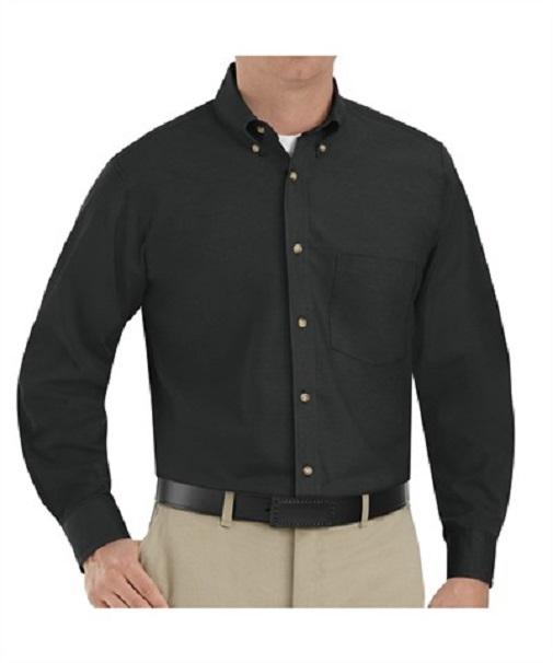 1t12bkm Men S Twill Long Sleeve Work Shirts One Pocket Black Medium