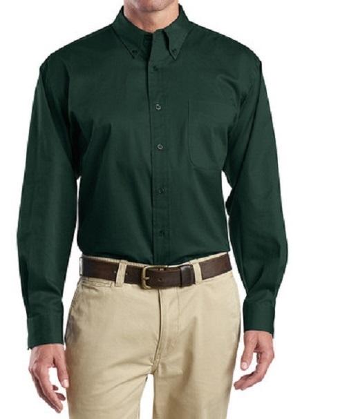 1t12ems Men S Twill Long Sleeve Work Shirts One Pocket Emerald