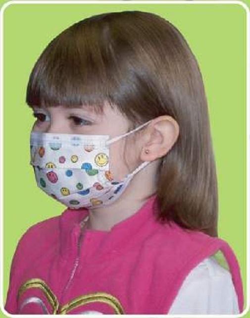 Mask Earloops Pediatric Pleated Print Precept Design Face 15150 Procedure Kid Medical happy