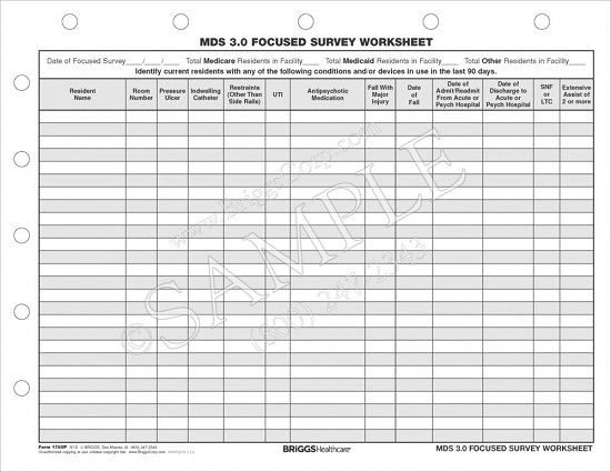 Briggs Healthcare 1780P MDS 3.0 Focused Survey Worksheet ...