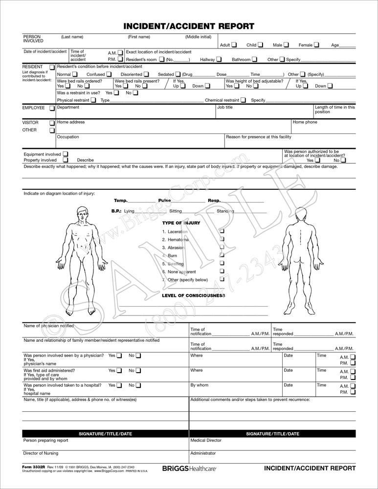 Briggs Healthcare 3332R Incident Report Form | litigation investigations