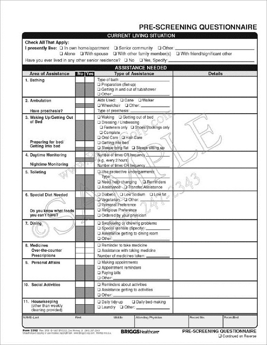 briggs healthcare 3382 assisted living pre screening questionnaire