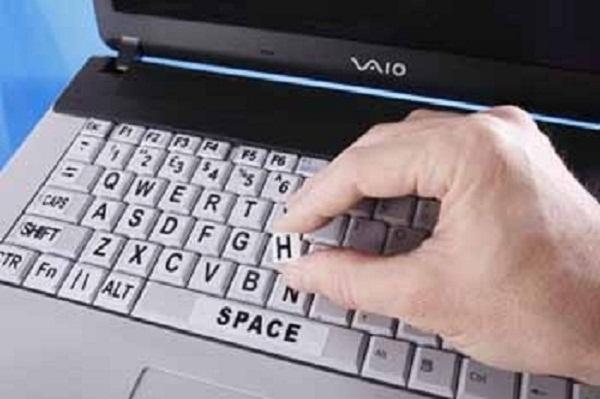 LS&S 601090 Laptop Keyboard Stickers - Black On White