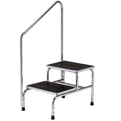 Chrome Two Step Step Stool With Handrail