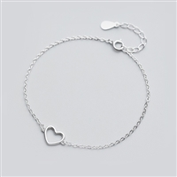 Open Heart Bracelet in Solid Sterling Silver - BLQ64S