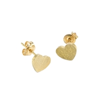 Small Heart Earrings in 20K Matt Gold Plate - EAK08G