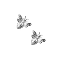 Little Bee Earrings in Satin Sterling Silver Plate - EAK29S