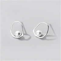 Inset Pearl Hoop Earrings in Solid Sterling Silver - EAQ139S