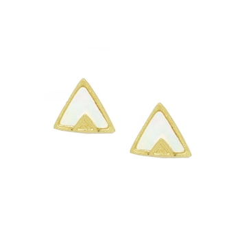 Triangle Earrings with Mother of Pearl in Brushed Gold - EAS64G