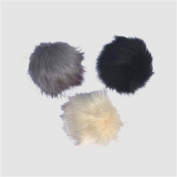 Pack of 3 Detachable Faux Fur Pom Poms in Black/Winter White/Grey  - HTA06A