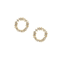 Crystal Cluster Circle Earrings in Gold  - LE001G