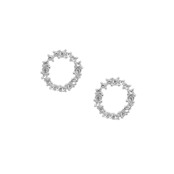 Crystal Cluster Circle Earrings in Silver - LE001S