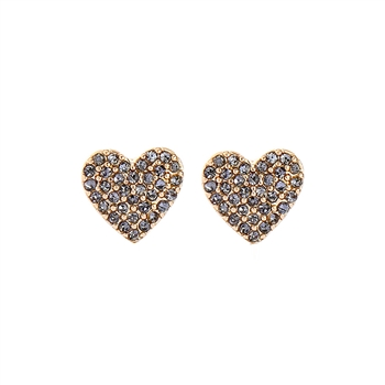 Heart Earrings with Pewter Crystals in Gold  - LE107G