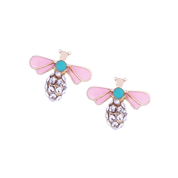 Pink and Mint Crystal Bee Earrings - LE268G