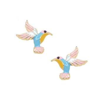 Enamel Humming Bird Earrings - LE500P