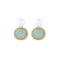 Mint Oval Gem and Pearl Earrings in Gold - LE514M