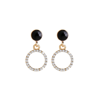 Enamel Circle and Crystal Disc Earrings in Gold with Black - LE588B