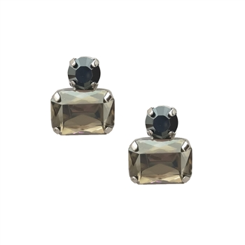 Twin Gem Slate Grey Crystal Top Earrings in Gold - LER07S