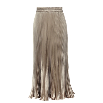 Pleated Shimmer Fluted Hem Long Skirt in Soft Gold - LGQ15S