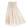 Tulle Layer Skirt in Cream with Gold Stripe Waistband - LGQ23C