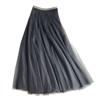 Tulle Layer Skirt in Grey with Gold Stripe Waistband - LGQ23G