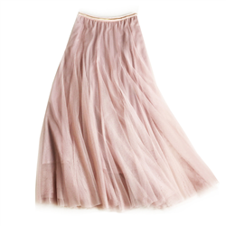 Tulle Layer Skirt in Soft Pink with Gold Stripe Waistband - LGQ23P