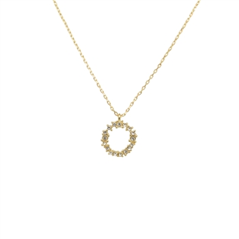 Crystal Cluster Circle Necklace in Gold - LN001G