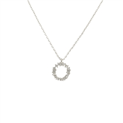 Crystal Cluster Circle Necklace in Silver - LN001S