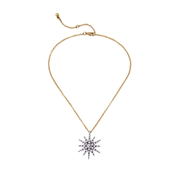 Single Crystal Star Necklace in Antique Silver and Gold - LN021G